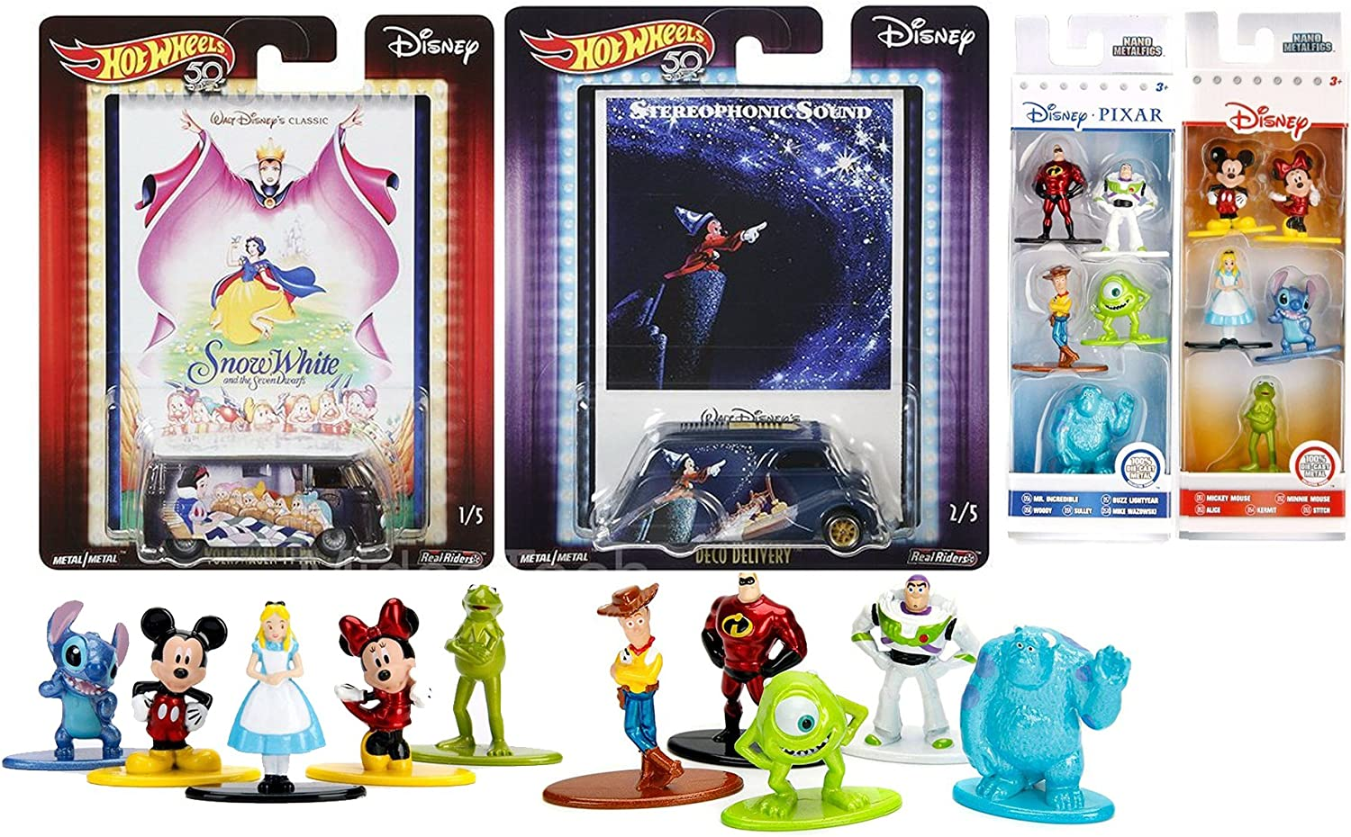 Pop Disney Movie Hot Wheels Snow White   Fantasia Culture Movie Poster Card Art + 10 Mini Character Metal Figures Pixar Mickey Mouse   Kermit Friends Collection