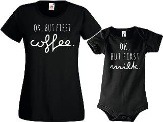Youth Designz Baby  Herren  Damen T-Shirts Strampler Set Modell OK BUT First Milk/Coffee/Für die ganze Familie/in versch. Farben