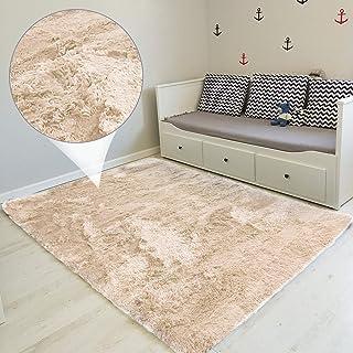 Amazinggirl alfombras Salon Grandes - Pelo Largo Alfombra habitación Dormitorio Lavables Comedor Moderna vivero Beige 160 x 230 cm