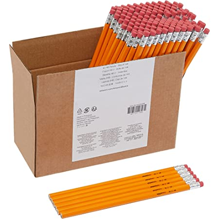 Amazon Basics Woodcased #2 Pencils, Unsharpened, HB Lead - Box of 144, Bulk Box
