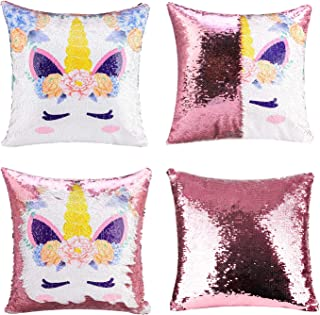 Merrycolor Unicorn Gifts Mermaid Throw Pillow Cover Magic Reversible Sequin Cushion Cover..