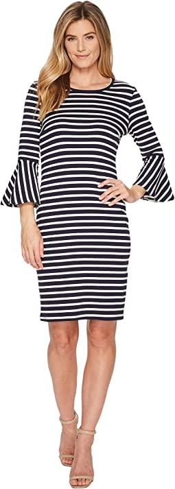 Flare Sleeve Stripe Dress