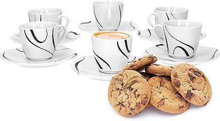 Preisvergleich für Van Well Galaxy 6er Set Espressotasse + Untertasse, Espresso-Set, Liniendekor, edles Marken-Porzellan