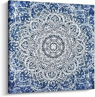 Pi Art Indigo Mandala Canvas Art - Blue Abstract Boho Wall Art Home Decoration for Living Room Stretched and Framed (24x24, A)