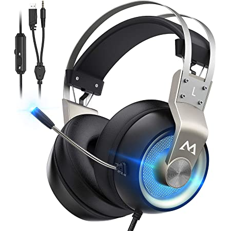 Mpow EG3 Pro Gaming Headset with 3D Surround Sound, PS4 Xbox One Headset with Noise Cancelling Mic, Gaming Chat Headset, Over-Ear Gaming Headphones for PC, Xbox 1, PS4, Nintendo Switch, Gold