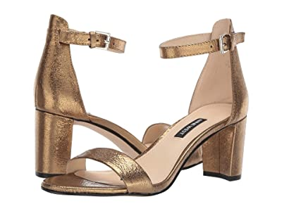 Nine West Pruce Block Heel Sandal (Gold) High Heels