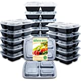 Enther Meal Prep Containers with Lids 20 Pack 3 Compartment Food Storage Bento Lunch Box BPA Free