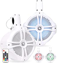 Belva BWT8LED Pair of 600W 8-inch Wakeboard Tower Speakers with Multi-LED Lights and Remote
