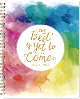 "Planner 2020-2021- Academic Weekly & Monthly Planner with Twin-Wire Binding, 8"" x 10"", July 2020 - June 2021, Thick Paper with Marked Tabs + to-Do List + Info Page + Holidays - Watercolor Ink"