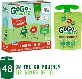 GoGo squeeZ Applesauce on the Go, Apple Strawberry, 3.2 Ounce (48 Count), Gluten Free, Vegan Friendly, Healthy Snacks, Unsweetened Applesauce, Recloseable, BPA Free Pouches