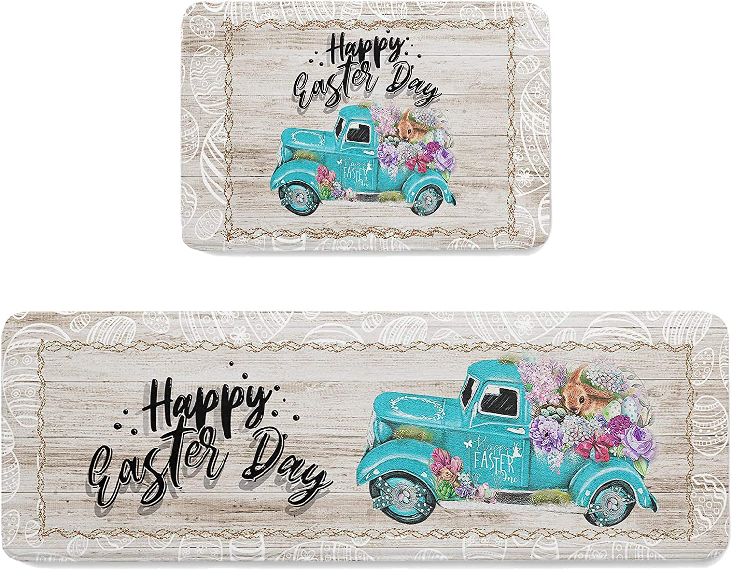 Kitchen Mats Teal Ranking TOP5 Truck with Colorful Under blast sales for Eggs Rug Laundr Runner