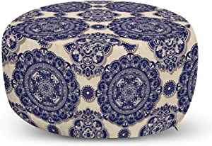 Ambesonne Mandala Ottoman Pouf, Ornamental Flower Pattern Shadow Effect Royal Retro Revival Medieval Exotic, Decorative Soft Foot Rest with Removable Cover Living Room and Bedroom, Beige Navy Blue