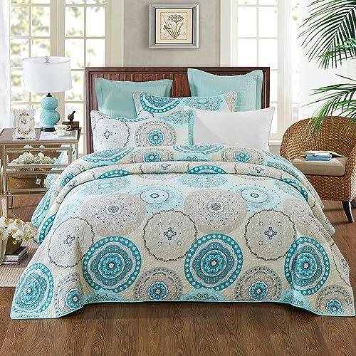 Aqua Blue Bedding Quilts Amazon Com