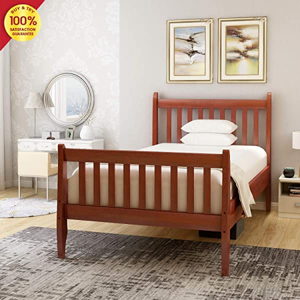 Hooseng Wood Twin Bed Platform Bedframe With Headboard And Footboard Mattress Foundation With Slat Support Walnut