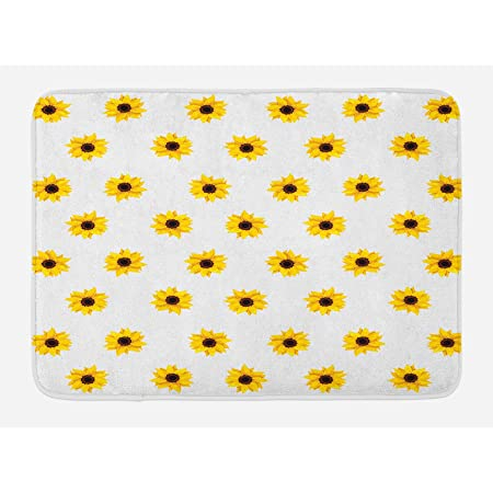 "Ambesonne Sunflower Bath Mat, Sunflower Pattern on a White Background Vibrant Nature Elements Simple Seasonal Art, Plush Bathroom Decor Mat with Non Slip Backing, 29.5"" X 17.5"", Yellow"