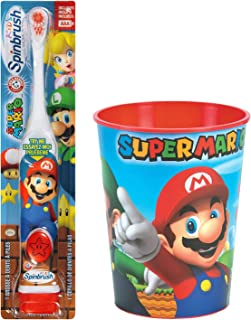 Super Mario Brothers Kids Electric Toothbrush Set: 2 Items - Spinbrush Toothbrush, Mario Character Rinse Cup