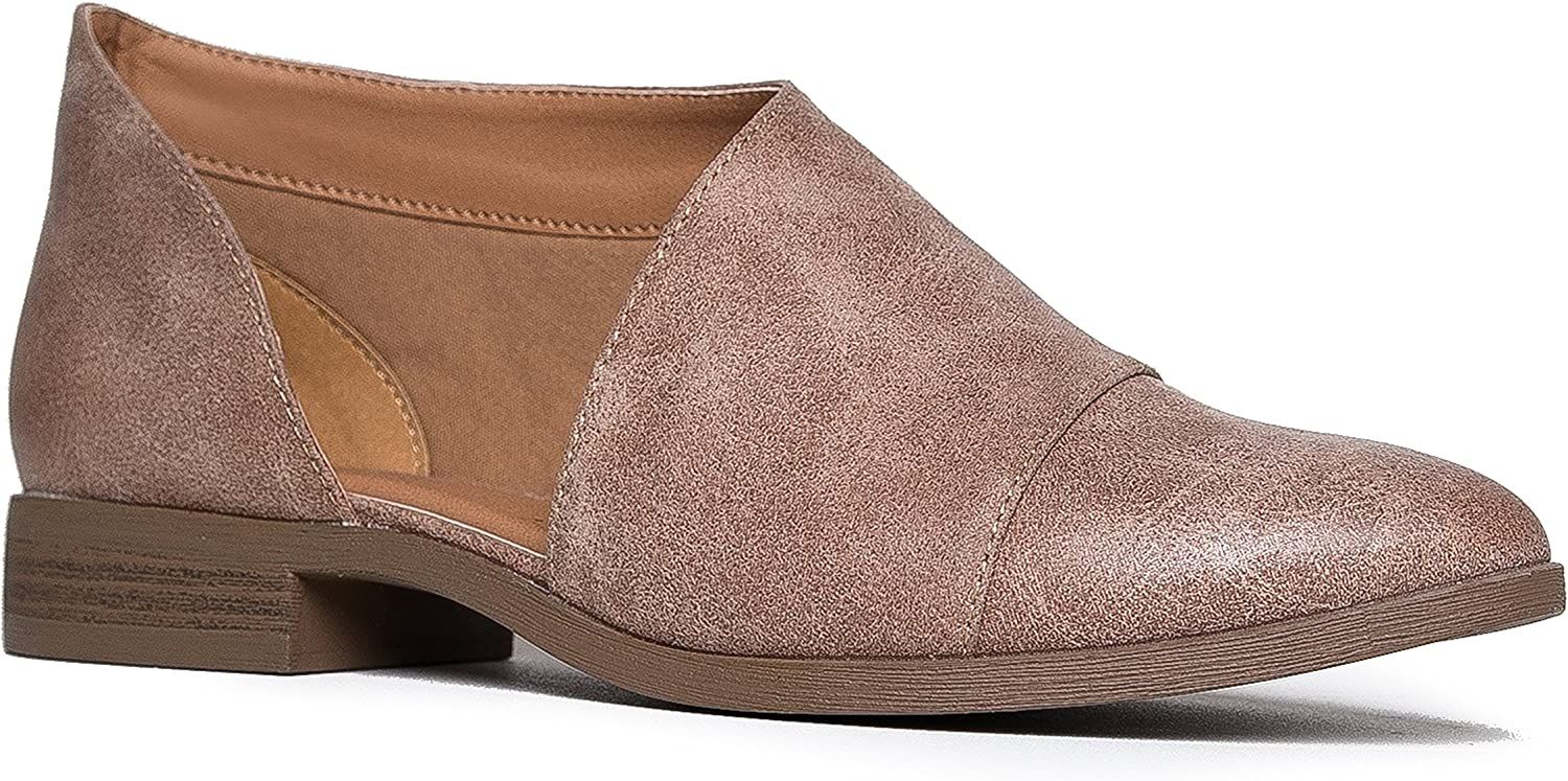 J. Adams Pismo Pointed Toe Loafers - Open Side Cut Out Flats - Slip On Bootie