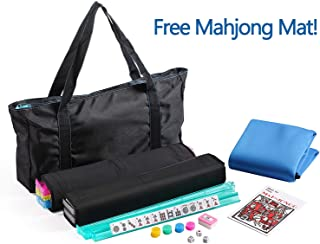American Mahjong Set with a Table Cover ~ Mahjong Set with Waterproof Black Nylon wtih Blue Stitches Bag and 4 Color Pushers/Racks Western Mahjongg