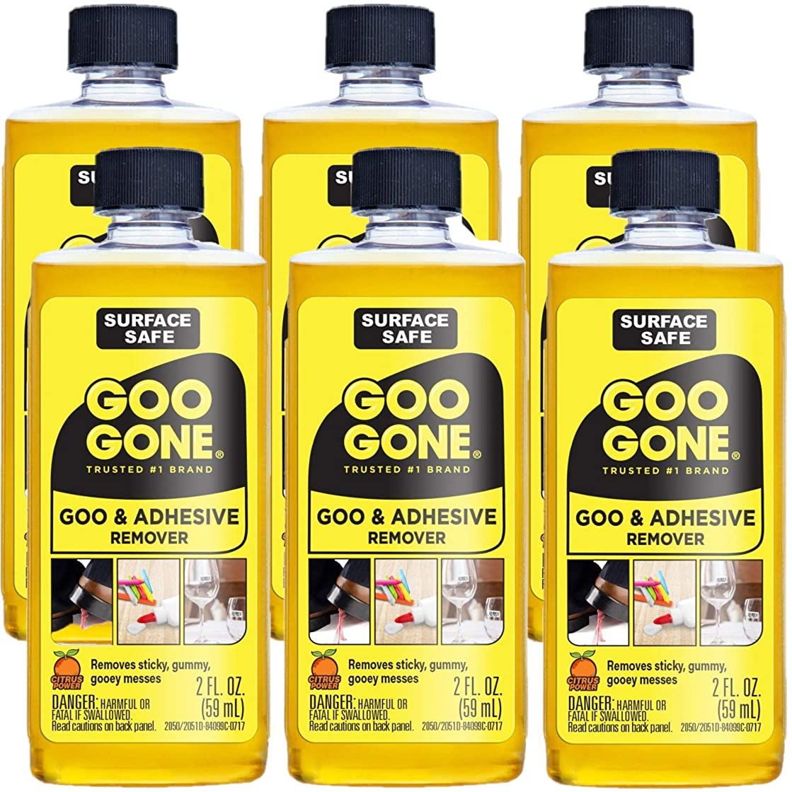 Goo Gone Original - 2 Ounce - Surface Safe Adhesive Remover Safely Removes Stickers Labels Decals Residue Tape Chewing Gum Grease Tar - Pack of 6