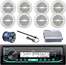 JVC Marine Boat Radio Stereo Player Receiver Bundle Combo with 8 x Magnadyne 5