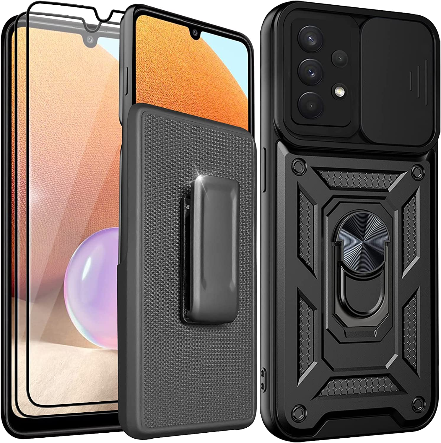 Holster Case for Samsung Galaxy A32 5G with Belt Clip,with Two Screen Protector,Camera Cover & Kickstand,Slide Lens Protection,360°Rotate Ring Stand,Car Mount Supported(Black, Galaxy A32 5G)