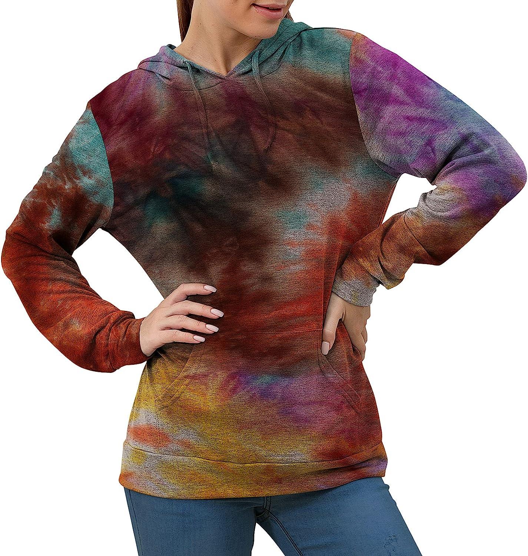 Lidardar Women's Casual Solid Color Pullover Sweatshirt Tie Dye Long Sleeve Tops Loose Fashion Sport Hoodies with Pocket