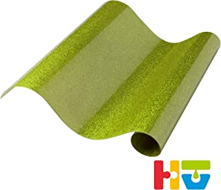 """Glitter Heat Transfer Vinyl - Iron On Glitter HTV, 12"""" x 19"""" Roll   for Custom DIY Designs, T-Shirts, Home Decor, Crafts   Easy to Cut, Weed, and Transfer   Shimmer Finish - (Light Green)#180607"""