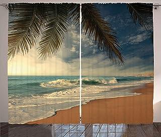 Ambesonne Beach Curtains, Tropical Seashore in Sri Lanka Exotic Coastline Palm Trees and Waves, Living Room Bedroom Window...