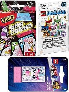 Kitty Unicorns Game Set Uno Theme Magical Unicorn & Lego or Unikitty Puppycorn Blind Bag Minifigure / 2 Movie Uni Kitty erasers Silly Fun Theme Deck UnoCorns Edition Card Matching Game