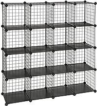 "SONGMICS Metal Wire Cube Storage,16-Cube Shelves Organizer,Stackable Storage Bins, Modular Bookcase, DIY Closet Cabinet Shelf, 48.4""L x 12.2""W x 48.4""H, Black"