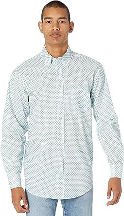 Long Sleeve Print Button-Down Shirt B2D8096