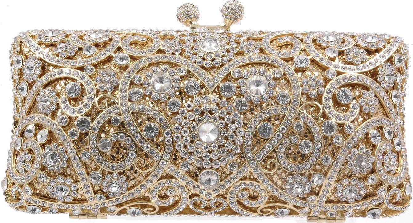 Crystal clutch purse rhinestone bag Bridal Magestic Chest stones handmade Luxury (Clear Gold)