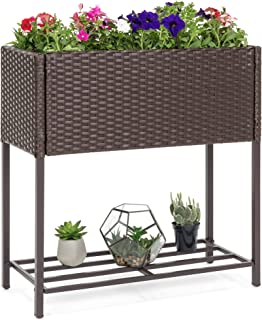 Best Choice Products 2-Tier Indoor Outdoor Wicker Elevated Garden Planter Box Stand for Potted Flowers, Plants, Herbs, Succulents, Brown