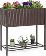 Best Choice Products 2-Tier Indoor Outdoor Wicker Elevated Garden Planter Box Stand for Potted Flowers, Plants, Herbs