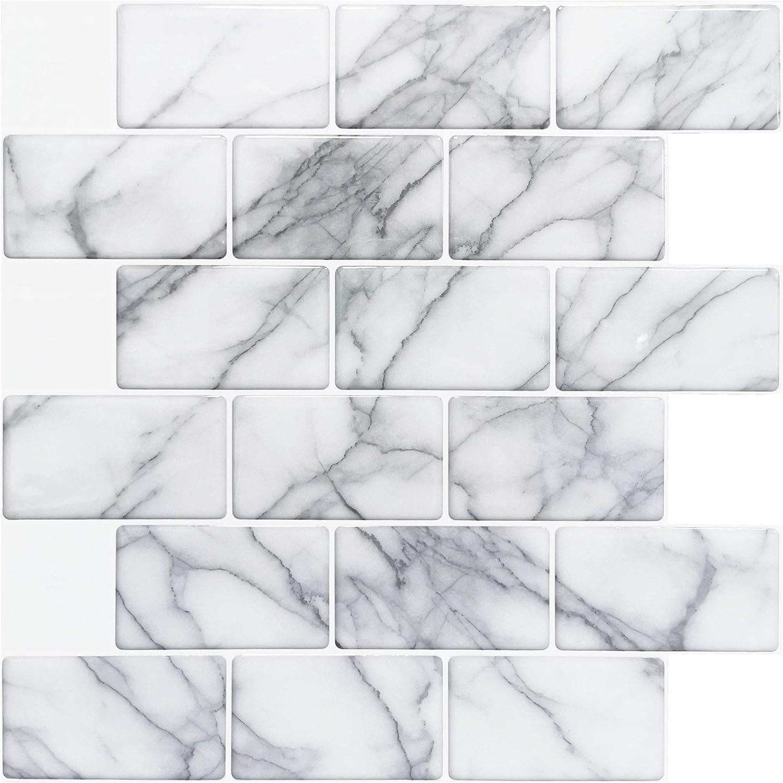 """Art3d 10-Sheet Peel and Stick Backsplash Tile for Kitchen (12""""x12"""", Grey Marble): Home & Kitchen"""