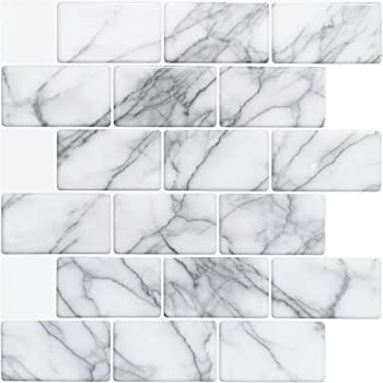 "Art3d 10-Sheet Peel and Stick Backsplash Tile for Kitchen (12""x12"", Grey Marble)"