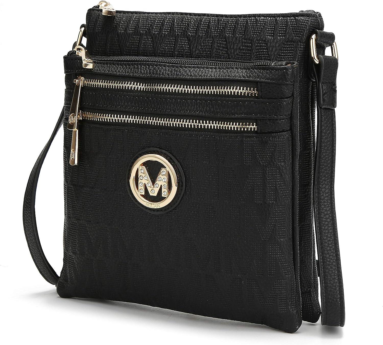 MKF Crossbody Bag for Women – PU Leather Pocketbook Handbag Multi Compartment Messenger Purse – Shoulder Strap