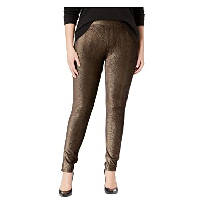 MICHAEL Michael Kors Plus Size Foil Cord Pull-On Leggings (Black/Gold) Women