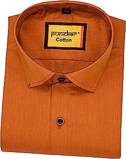 Punekar Cotton Full Sleeves Golden Colour Satin Shirts for Men's