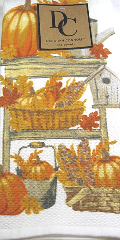 Deborah Connolly Decorative Tea Towels 2 Pk Harvest Pumpkins 18 X 28 100 Cotton