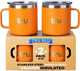Large Stainless Steel Vacuum Insulated Coffee Mugs with Lids 16 oz, Set of 2 Double Wall Metal Mugs with Handle - Lightweight, Unbreakable, Shatterproof, Durable, BPA Free