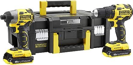 STANLEY FATMAX FMCK463D2T-QW–Taladro percutor Brushless y atornillador de impacto Brushless 18V con 2 baterías de litio 2Ah y caja de herramientas TSTAK