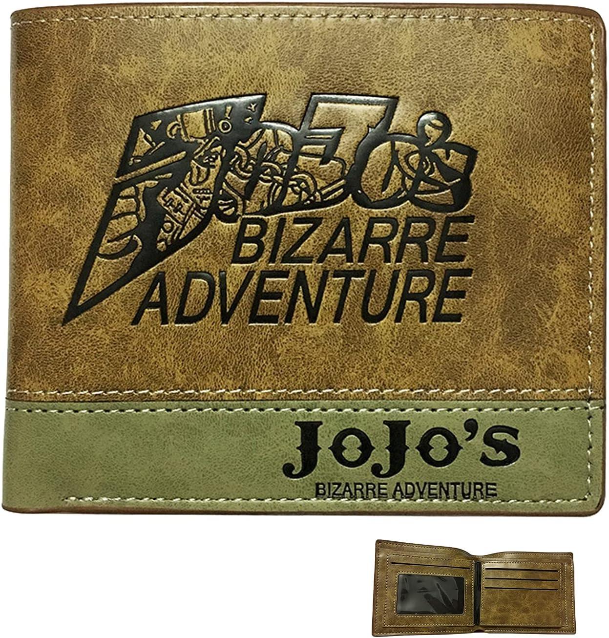 JoJo PU Leather wallet adventure cartoon wallet (Gold)