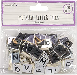 Dovecraft Essentials Alphabet Letters Metallic-Scrabble Letters-150 Pieces-Uppercase Tiles for Card Making, DIY, Party, Pa...