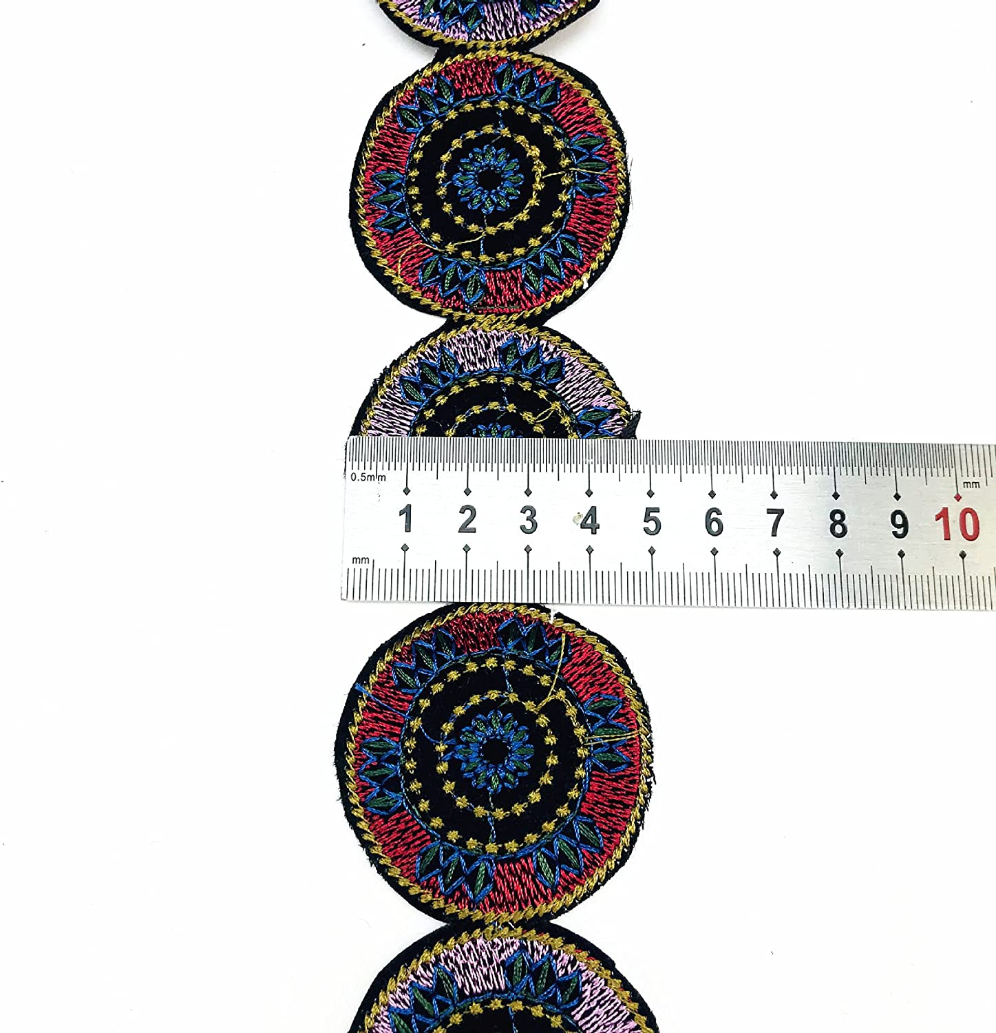 1 Yard Vintage 3D 2021 autumn and winter new Round Embroidery Trim Embroid Lace outlet Ribbon Boho