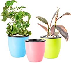 (3 Sets) Self Watering Planters – Suitable for All Plants, African Violets, Herb Pot for Plants. African Violet Pots Self Watering Pots for Indoor Plants/Outdoor Flowers Pots Indoor Pink,Blue&Green