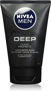 NIVEA Men DEEP Face & Beard Wash With Active Charcoal (100mL), Skin Cleanser for All Skin Types, Face Wash with Activated ...