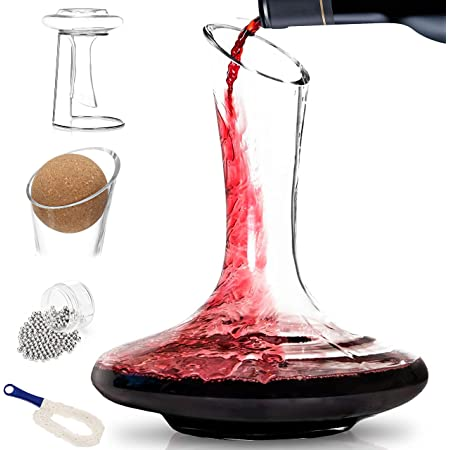 BTaT- Decanter with Drying Stand, Stopper, Brush and Beads XL, Hand Blown 100% Lead Free Crystal Glass, Wine Decanter, Wine Carafe, Wine Accessories, Red Wine Decanter, Wine Gift