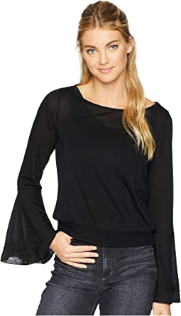 Tencel Flounce Sleeve Crop Top