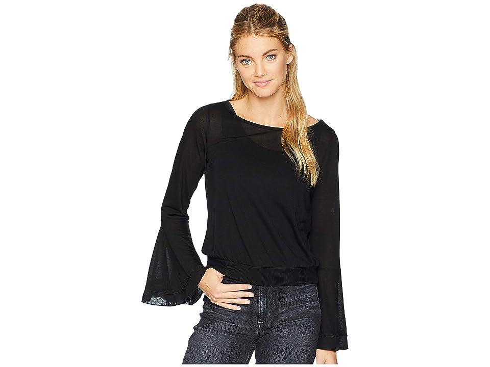 Three Dots Tencel Flounce Sleeve Crop Top (Black) Women